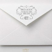 Whimsical Hand Drawn Flourish Wedding Address Stamp – FL005