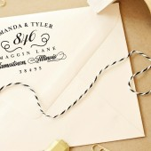 Custom Personalized Calligraphy Flourish Style Hand Drawn Wedding Return Address Stamp – FL007