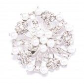 FLOWER RHINESTONE AND PEARL BROOCH 411
