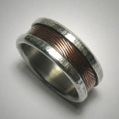 Rustic copper and silver wedding band for men
