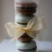 Four French Macaron Party Wedding Favor in Cylinder Clear Box 2 French Macarons