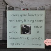 20 x 20 Picture Frame, ee Cummings Quote, i carry your heart