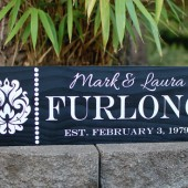 Custom family sign with first names, last name, est. date and damask design - personalized - custom wood sign in colors of your choice