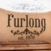 Burlap pillow cover personalized with name and established date