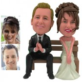 Personalized Cake Topper -  Couple On Bench