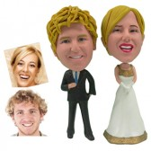 Personalized Cake Topper -  Golden Bride Couple