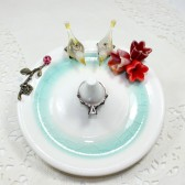 Fall wedding ring dish with Champagne love birds