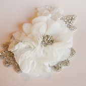 Floral and Rhinestone Wedding Headpiece in Ivory by FancieStrands