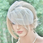 ivory yulle birdcage veil FancieStrands