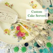 Custom Stamped Wedding Cake Servers