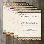 Bridal Shower Rustic Fancy Lace Burlap and Wood Invitation