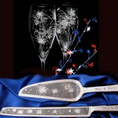Fireworks Theme Champagne Flute, Wedding Cake Server Set