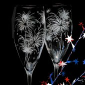 4th of July Wedding Champagne Glasses