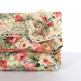 Vintage Floral Bridesmaid Fold Over Clutch, Shabby Chic Lace Purse, Pastel Pink, Coral, Green, Blue Bridesmaid Bag, Rustic Flower Clutch