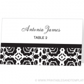 Place Card Template - Floral Damask