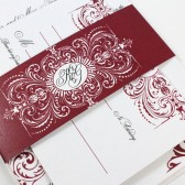 Traditional flourish lace wedding invitation – Katherine