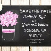 Pulp Sisters Paperie Chalkboard Floral Mason Jar Save the Date