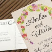 Floral Post Card Save the Date