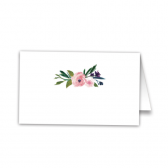 Featuring a simple and elegant background of white, with a grouping of hand painted watercolor florals, romance is in the air with this whimsically rustic chic style.