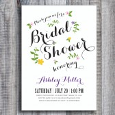 Floral Script Bridal Shower Invitation