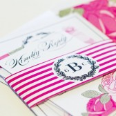 Floral laurel wreath stripes modern invitation Georgina