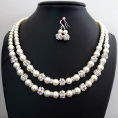 Double Strand Pearl Jewelry Set