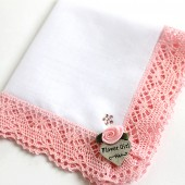 Personalized Flower Girl Gift Hanky with Swarovski Crystals, Pink Custom Wedding Lace Handkerchief, Bridal Party Gifts, Reherseal Dinner