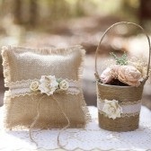 Burlap and Flower Ring Pillow Set