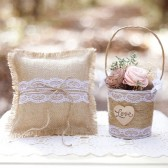 Burlap and Lace Ring Pillow Set