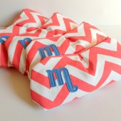 Four Coral & Dusty Blue Monogram Bridesmaid Clutches