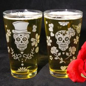 Day of the Dead Sugar Skull Pint glasses