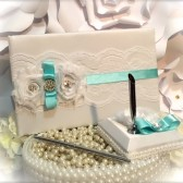 aqua guest book set. Available in many colors.