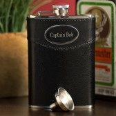 Personalized 8oz Black Leather Flask