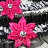 Zebra Wedding Garters, Black Organza Wedding Garters, Hot Pink / Fuchsia Kanzashi Flowers, Hot Pink Wedding Garters, Animal Print Garters