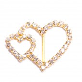 GOLD DIAMANTE DOUBLE HEART BUCKLE 107 G