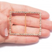 GOLD RECTANGLE RHINESTONE BUCKLES FOR CHAIR SASHES 204 G