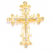 GOLD RHINESTONE CROSS BROOCH 414 G