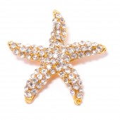 GOLD STARFISH RHINESTONE SLIDE BUCKLE 326 G