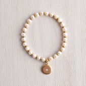 GOLD and CRYSTAL WHITE PEARL BRACELET