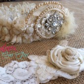 Something old to Something New Wedding Garter Set - Send us pieces of your Grandmothers/mothers wedding gown and we make it into your garter