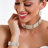 Gabriella - Elegant Three Strand Pearl and Rhinestone Choker, Bracelet and Earrings Bridal Jewelry Set