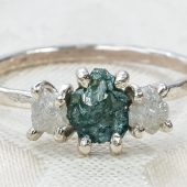 Three Stone Rough Diamond and Sterling Silver Engagement Ring by Gaia's Candy