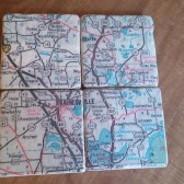 Personalized Atlas Map Coaster Set over 2-6 coasters