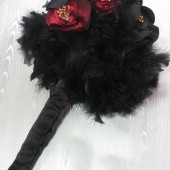 Black & Red Silk Rose Bouquet