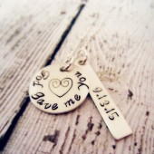 Hand Stamped God Gave Me You Wedding Date Necklace