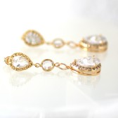Gold Long Bridal Earrings, Dangle, Cubic Zirconia