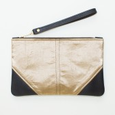 Large Metallic Gold Silk and Leather Wristlet