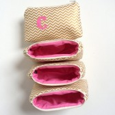 Four pink and gold metallic chevron personalized makeup bags