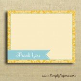 Teal and Gold Damask Thank You Card