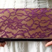 Purple Lace and Gold Satin Clutch